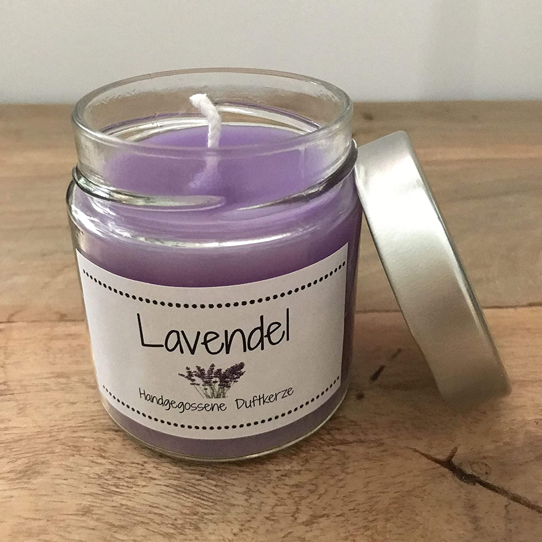Windlicht mit eingegossenen Lavendelzweigen handmade Kerze wiederverwendbar Deko Wellness Geschenk Pr/äsent