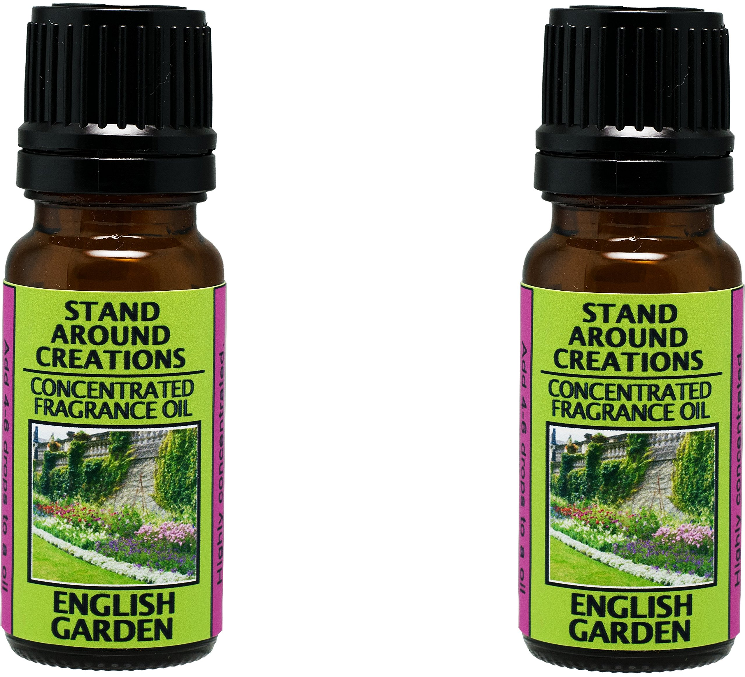 Set of 2 - Concentrated Fragrance Oil - English Garden - Notes of lily, lilac, rose & hyacinth. Made w/natural essential oils. (.33 fl.oz.) by Stand Around Creations (Image #1)