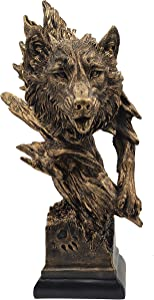 LOOYAR Resin Wolf Statue Sculpture Ornament Collectible Figurine Craft Furnishing for Home Décor Farm House Living Room Porch Decoration Office Desk Desktop Table Wine Cabinet Arrangement Gift, Cooper