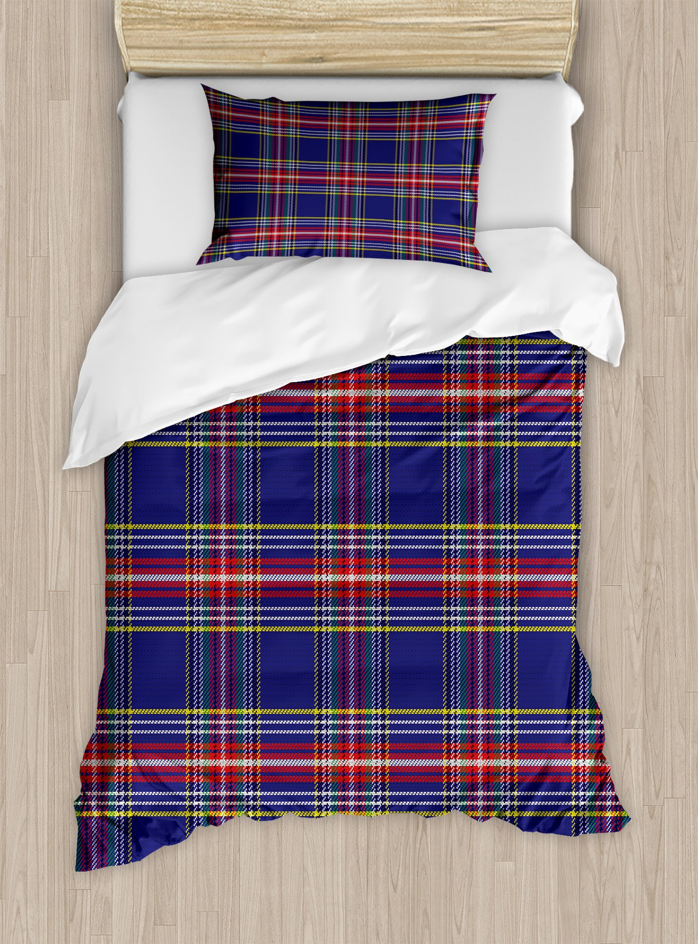 Ambesonne Plaid Duvet Cover Set Twin Size, Old Fashioned Scottish Tartan Country Style with Geometric Look Abstract Arrangement, Decorative 2 Piece Bedding Set with 1 Pillow Sham, Multicolor