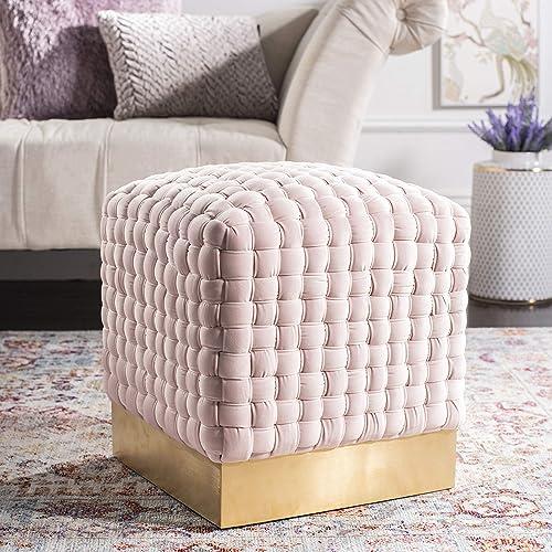 Best ottoman chair: Safavieh Home Collection Ravyn Pink and Gold Woven Velvet Ottoman