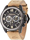 Timberland Upton hommes de montre à quartz avec affichage analogique cadran noir et bracelet en cuir beige 14814jsbu/02