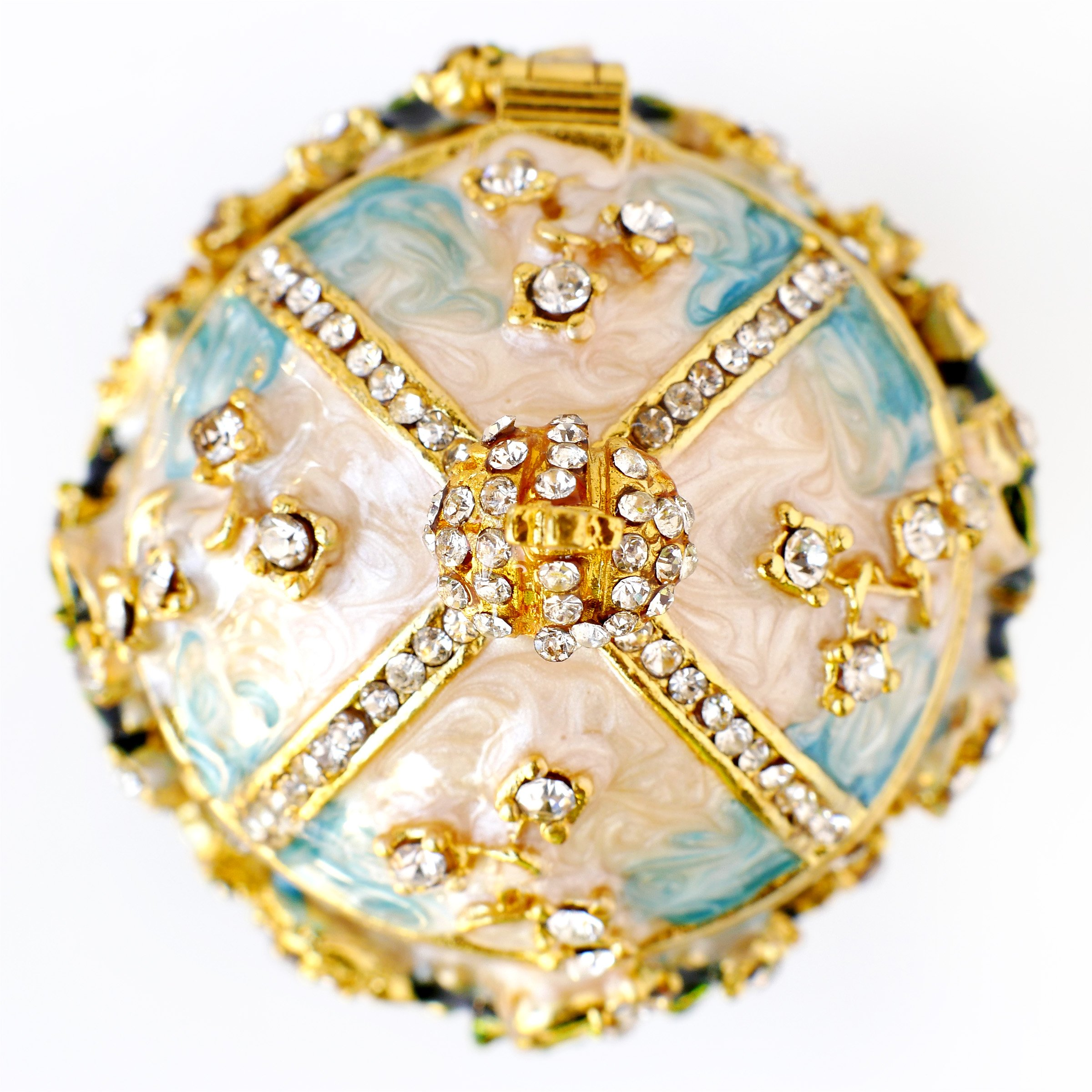 Apropos Hand-Painted Vintage Style Faberge Egg with Rich Enamel and Sparkling Rhinestones Jewelry Trinket Box (S. White Cross) by Apropos (Image #3)