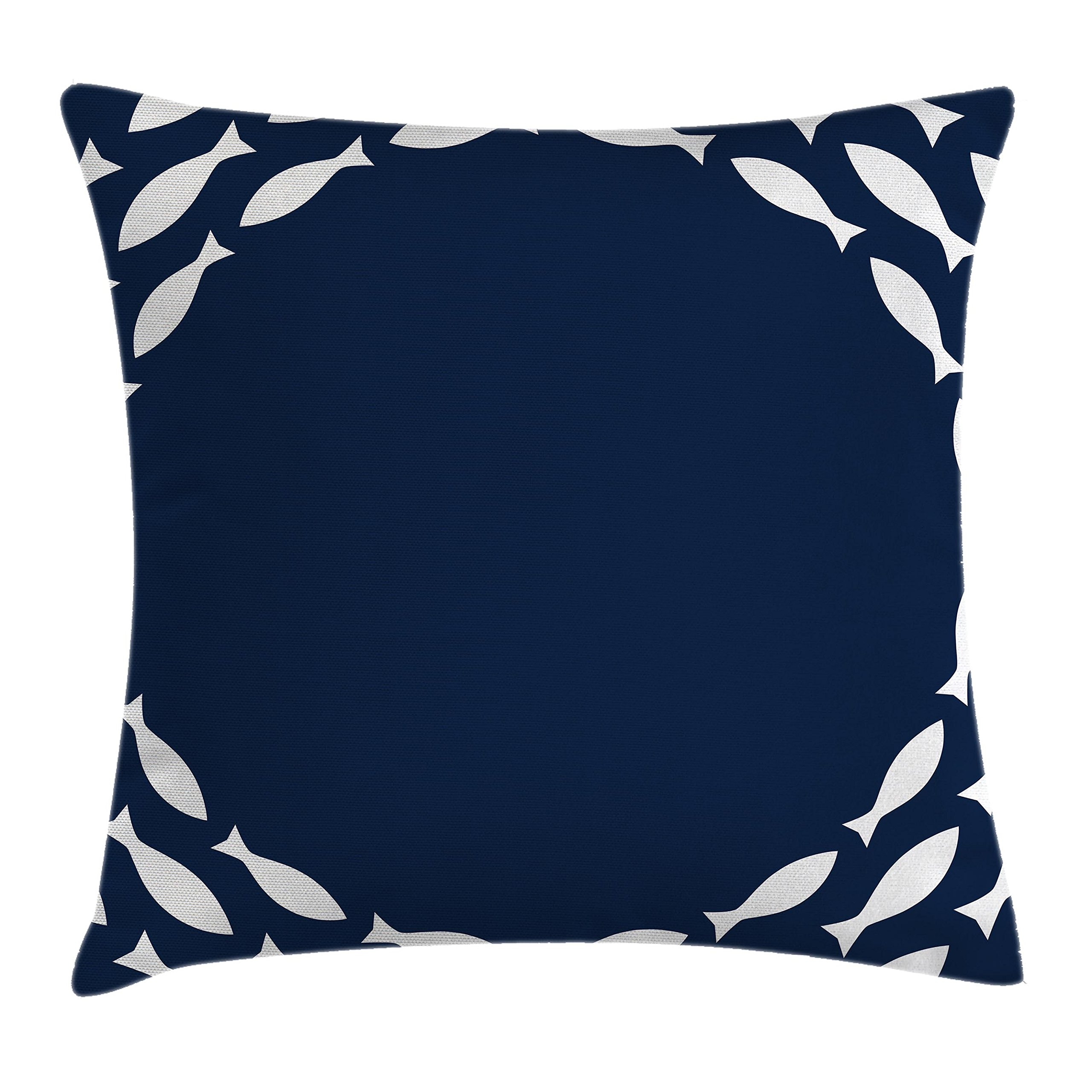 Ambesonne Navy Blue Decor Throw Pillow Cushion Cover, Ocean Navy Themed School of Cute Fish Swimming in a Circle Print, Decorative Square Accent Pillow Case, 18 X 18 inches, Navy Blue and White