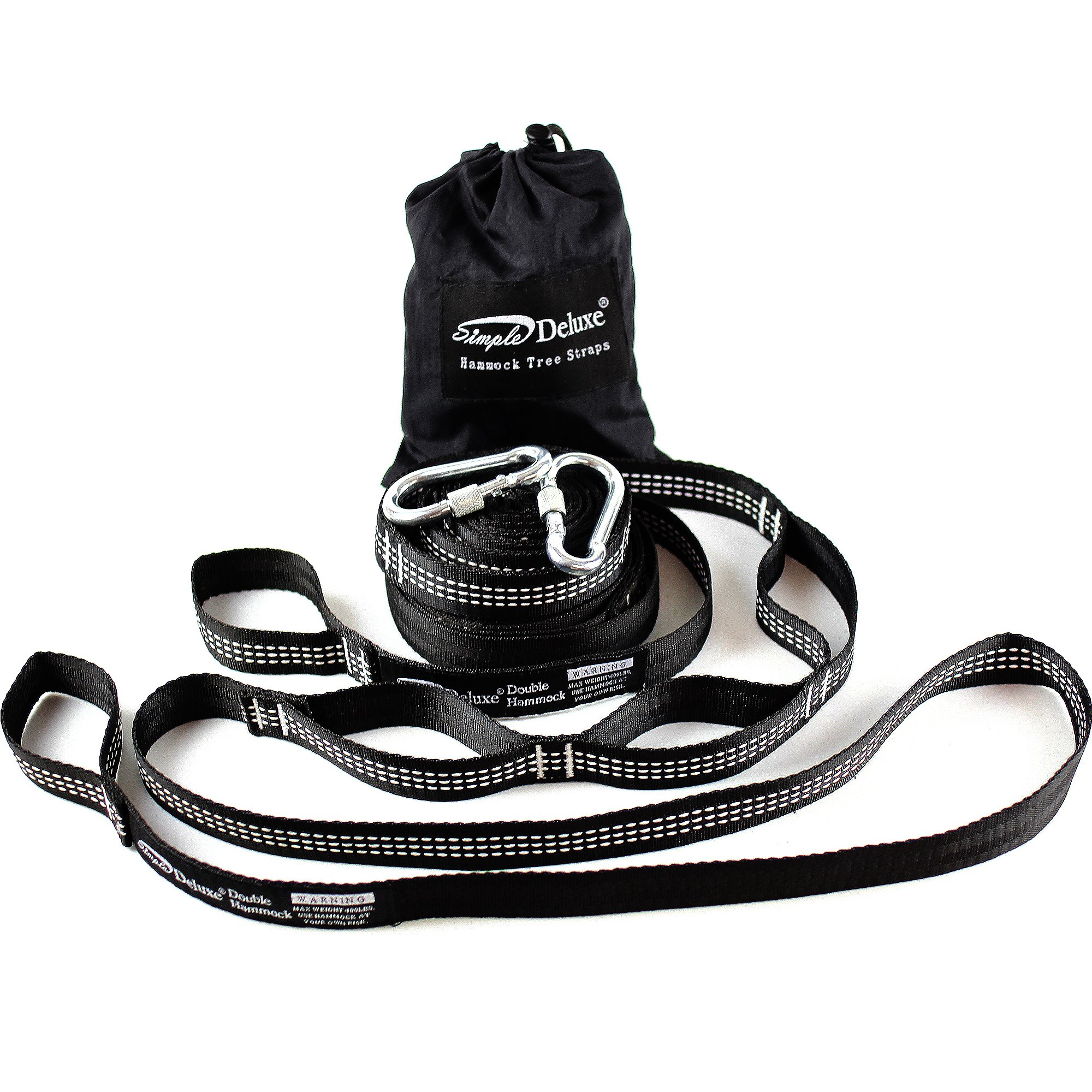 Simple Deluxe 12-Feet Pair of 2000 LBS Heavy Duty Lightweight Portable Hammock Straps with 42 Loops and 2 Metal Locking Carabiners