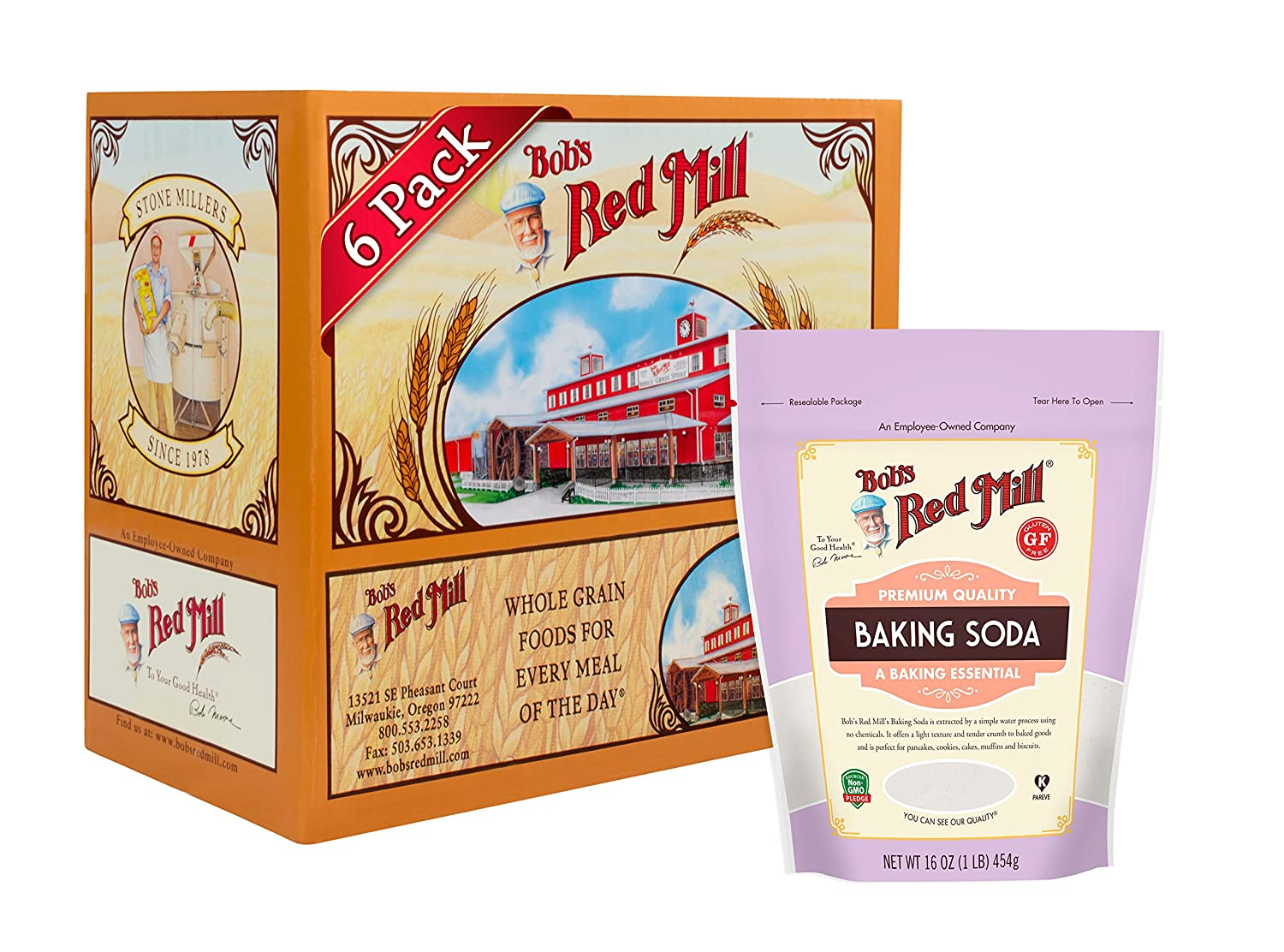Bob's Red Mill Resealable Baking Soda, 16 Oz (6 Pack)