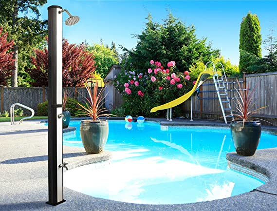 Nemaxx SD35FX Ducha Solar Ducha al Aire Libre para Piscina con depósito de 35 litros Resistente a los Rayos UV - con Lavapiés y Cabezal de Ducha Regulable: Amazon.es: Jardín