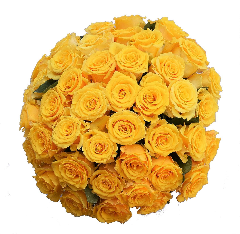 Amazon 50 Farm Fresh Yellow Roses Bouquet By Justfreshroses