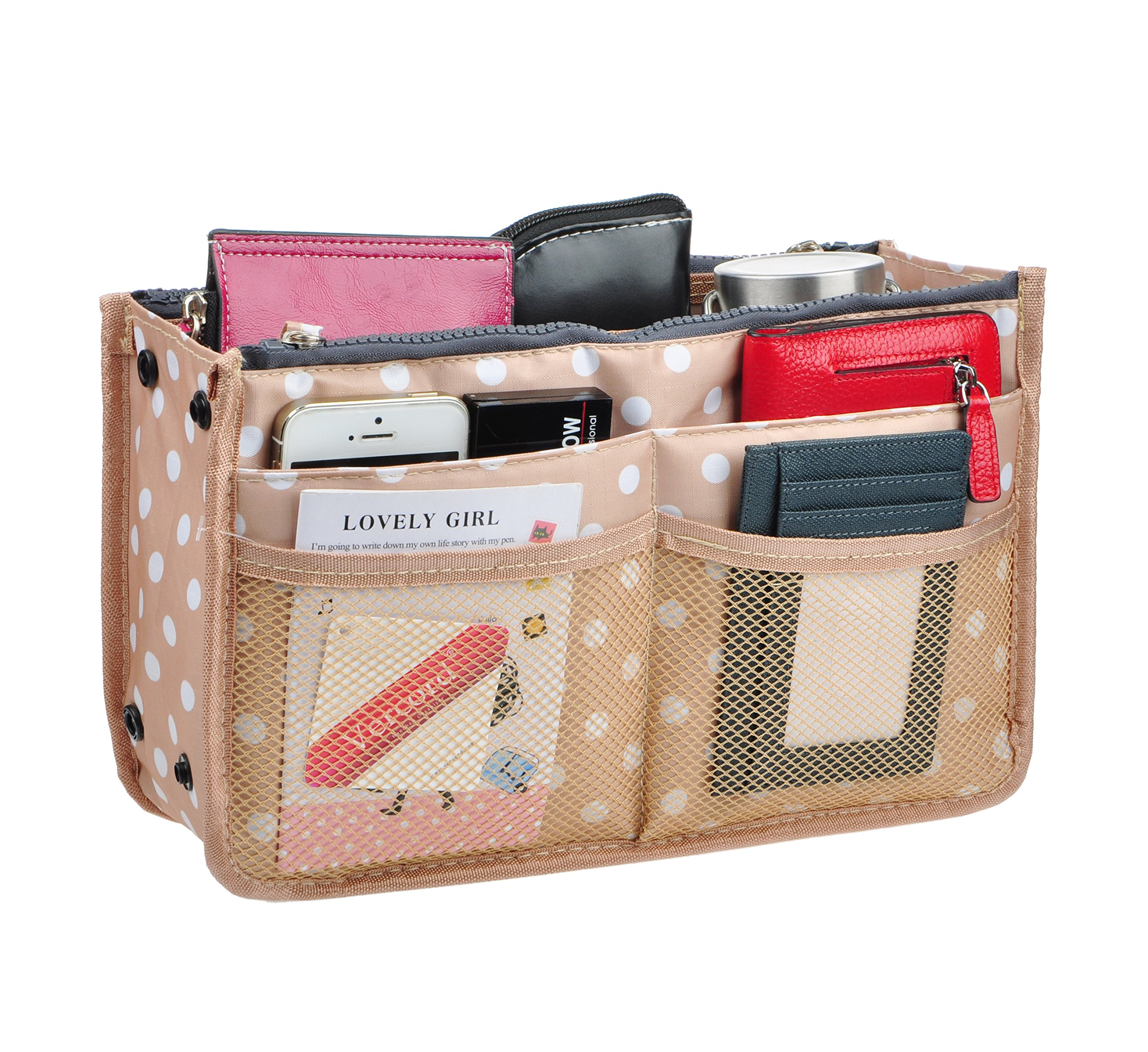 Vercord Updated Purse Handbag Organizer Insert Liner Bag in Bag 13 Pockets 3 Size, Beige Dot M