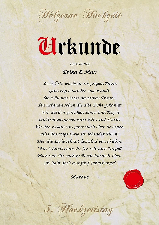 Hölzerne Hochzeit Urkunde personalisiert Geschenk Karte zum 5 ...
