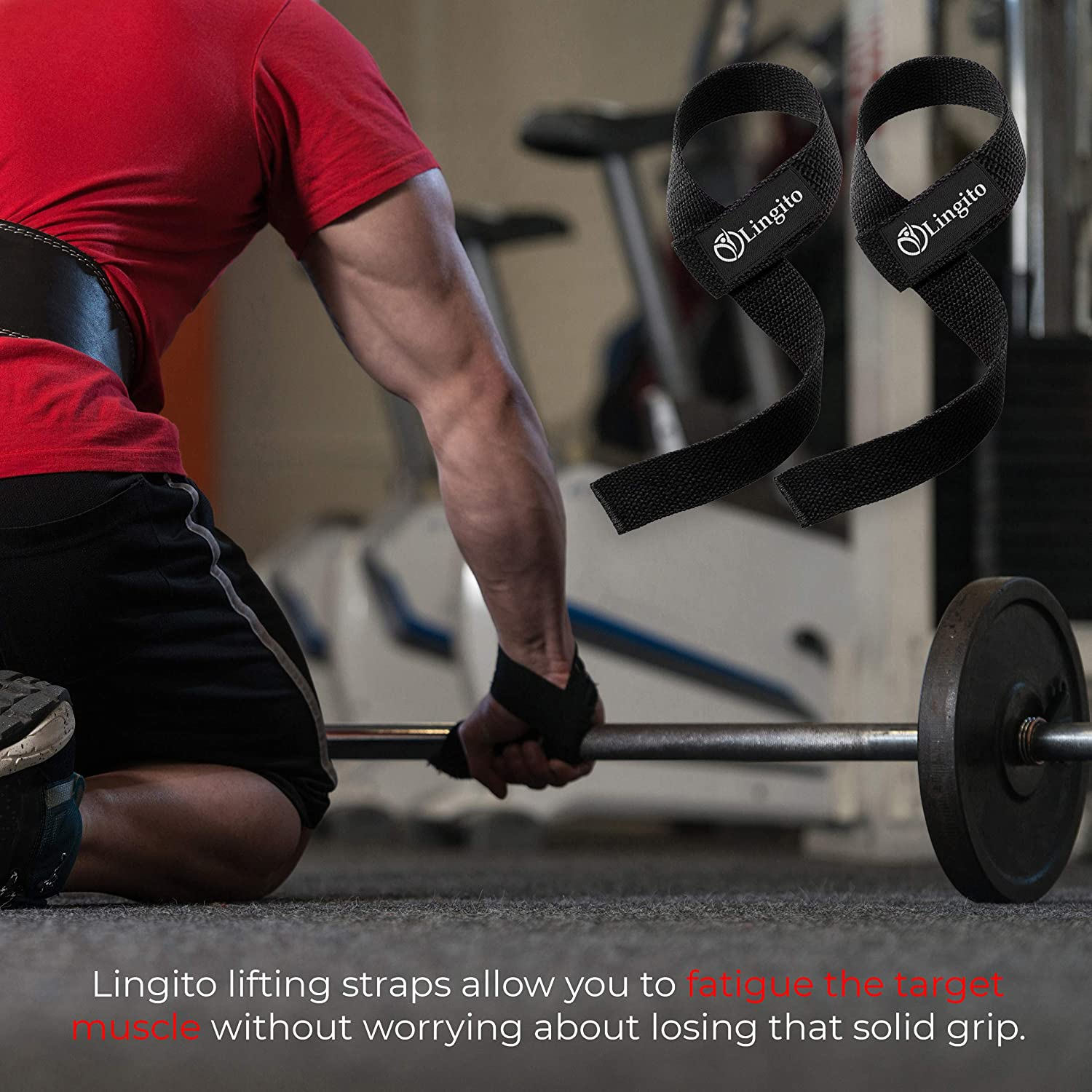 Lingito Lifting Neoprene Padded Straps Instantly Life More During Weightlifting /& Build More Muscle