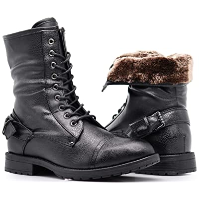 Enzo Romeo SH04 Mens Military Combat Mid Calf High Lace Up Zipper Fur Lining Winter Snow Boots (7.5, Black (05)) | Snow Boots