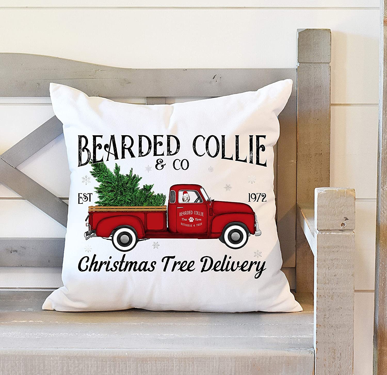 Bearded Collie Dog Gift Christmas Decor Christmas Throw Pillow Bearded Collie Christmas Tree Red Truck Decor Bearded Collie Gift Holiday Pillow,Home Decor