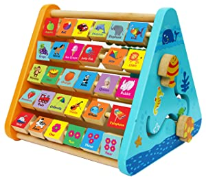 Wooden Activity Centre Triangle Toys - Wooden Alphabet Blocks Abacus Clock - Activity Cube for Toddlers-Wooden Activity Toys for Babies Montessori Learning-Wooden Toys for 1 Year Old
