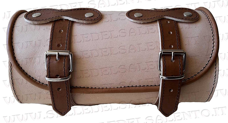 Barilotto borsa moto in colore cuoio marrone bicolore 25x12