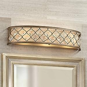 Jeweled Golden Wall Mount Light Bronze Metal Hardwired 25
