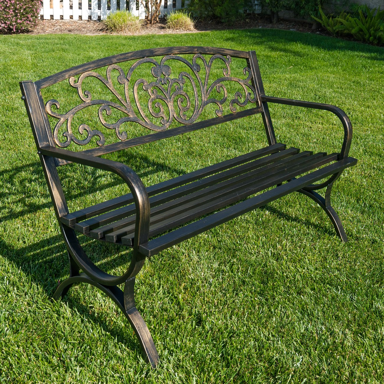 Belleze 50'' Garden Backyard Bench, Metal, Bronze