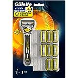 Gillette Fusion Proshield Lamette di Ricambio per Rasoio con Tecnologia Flexball, Confezione da 9 Pezzi e Manico Gratis