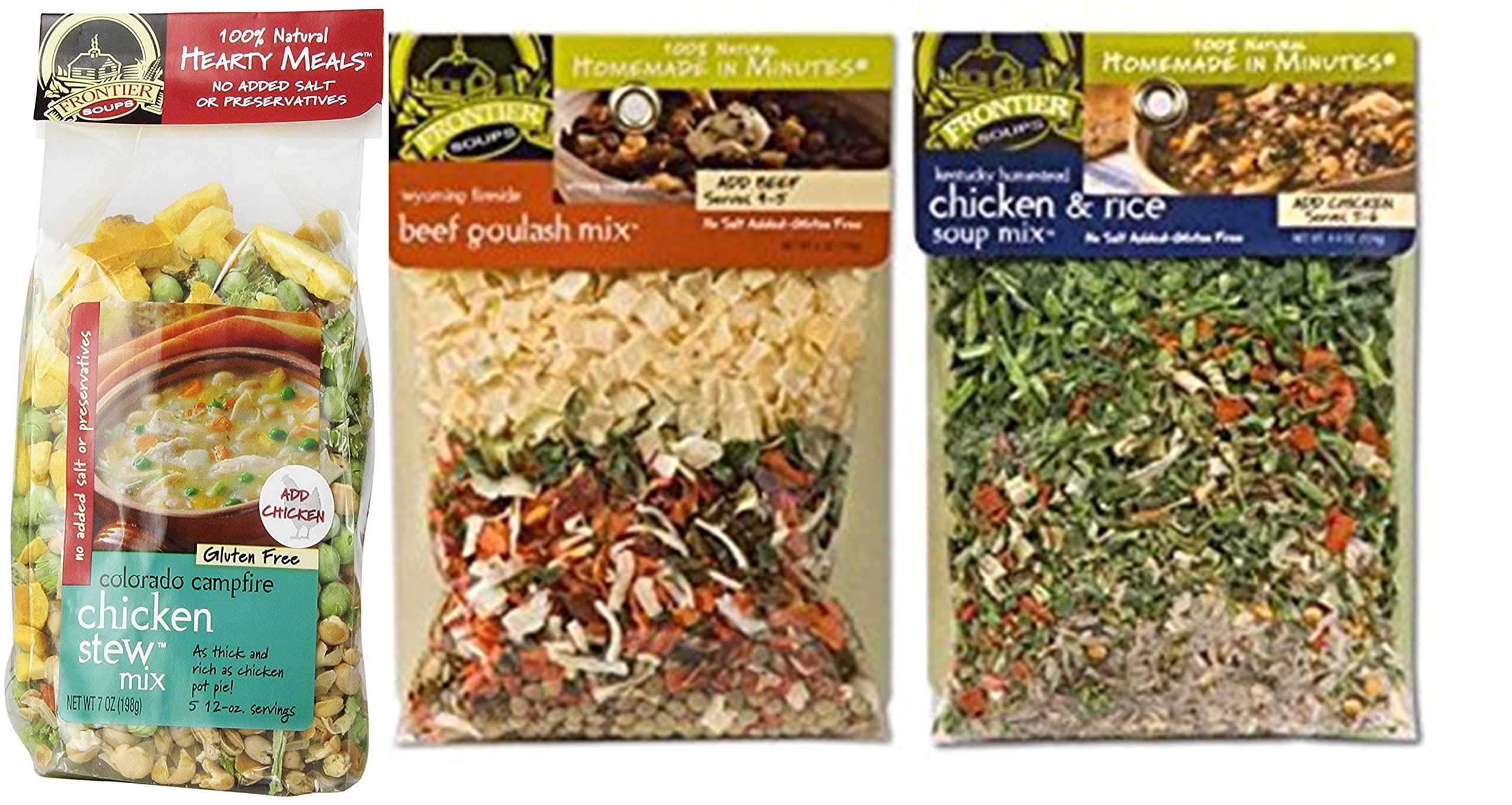 Frontier Soups Homemade In Minutes Bundle: Hearty Colorado Campfire Chicken Stew Mix 7 Oz, Wyoming Fireside Beef Goulash Mix 6 oz, Kentucky Homestead Chicken and Rice Soup Mix 4.25 oz