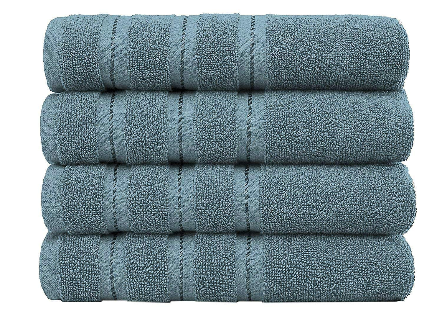 Luxury Hotel and Spa Quality, 100% Ring Spun Genuine Cotton, 16x30 Inches 4-Piece Turkish Hand Towel Set for Maximum Softness and Absorbency, Dry Quickly by American Soft Linen, Colonial Blue