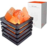Himalayan Salt Lamp, Natural Himalayan Pink Salt Night Light, Sea Salt Crystal Light with Wood Basket and Stepless Dimming Switch, Home Decorative and Nursery Room Light for Your Health, UL Cord and L