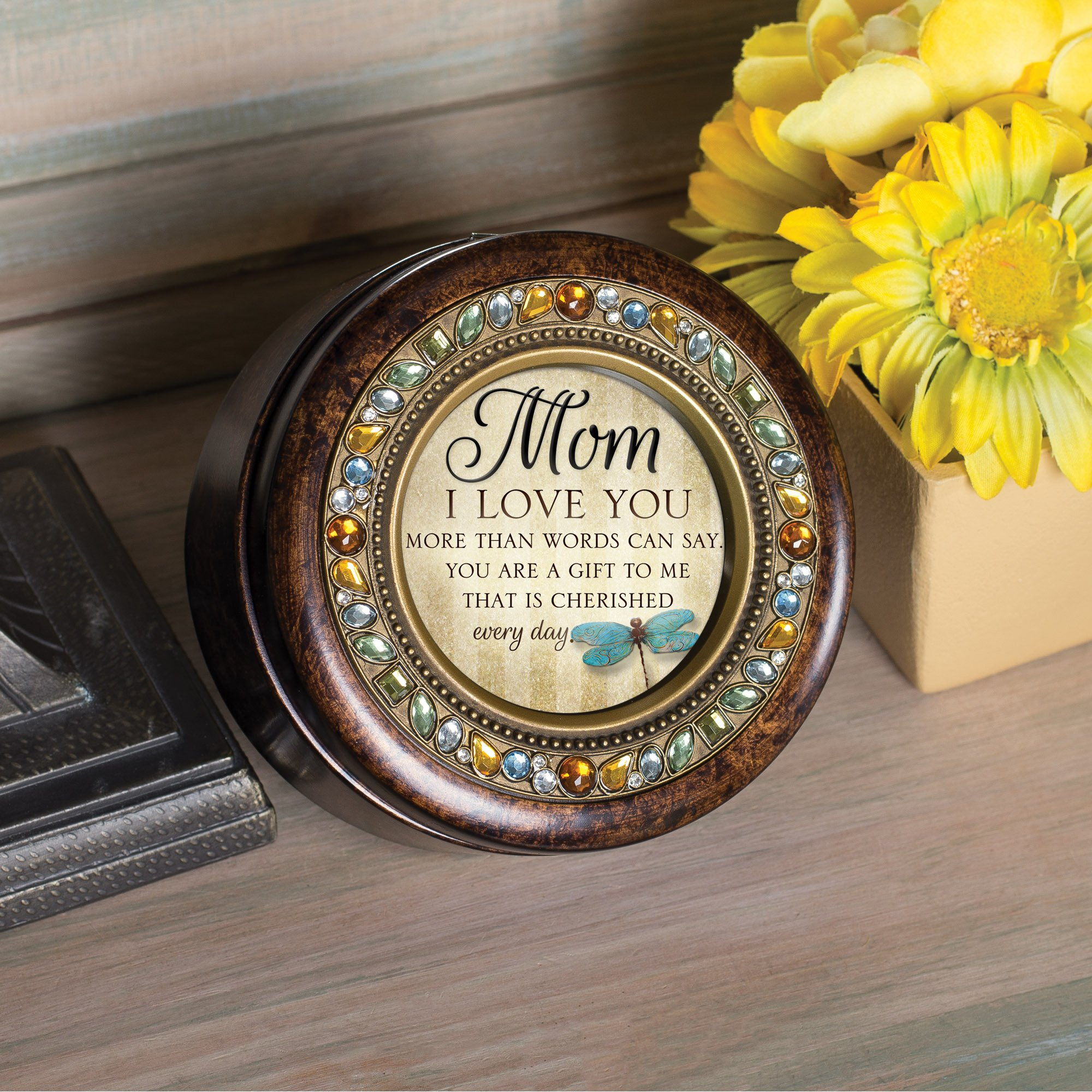Cottage Garden Mom I Love You Every Day Jeweled Amber Earth Toned Round Music Box Plays Wind Beneath My Wings by Cottage Garden (Image #3)