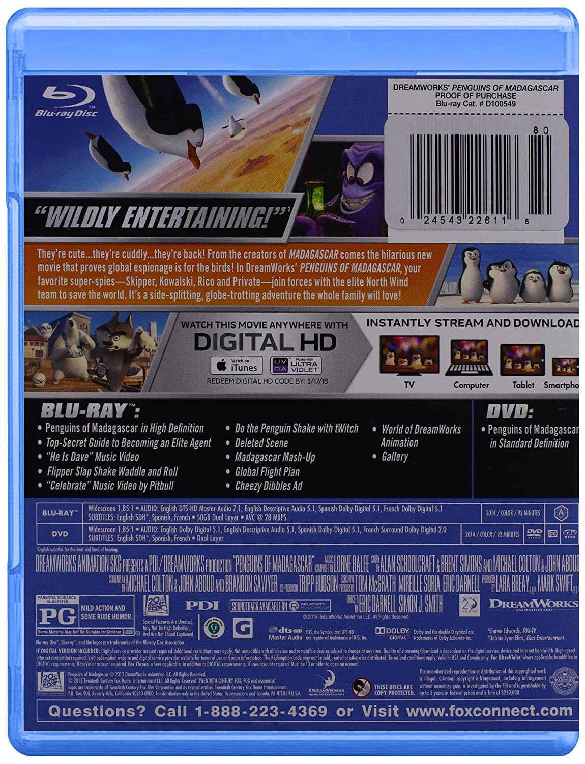 Amazon.com: Penguins Of Madagascar (2015) [Blu-ray]: Tom McGrath, Chris Miller, John Malkovich, Conrad Vernon, Christopher Knights: Movies & TV