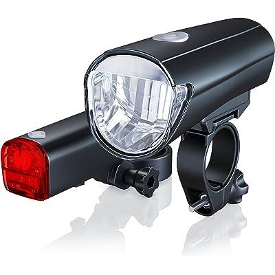 aplic - Set de Faros LED   Modelo DG330   LED Claro (30 Lux)   Faros para Bicicleta/Set de iluminación para Bicicletas, Incl. luz Delantera y Trasera