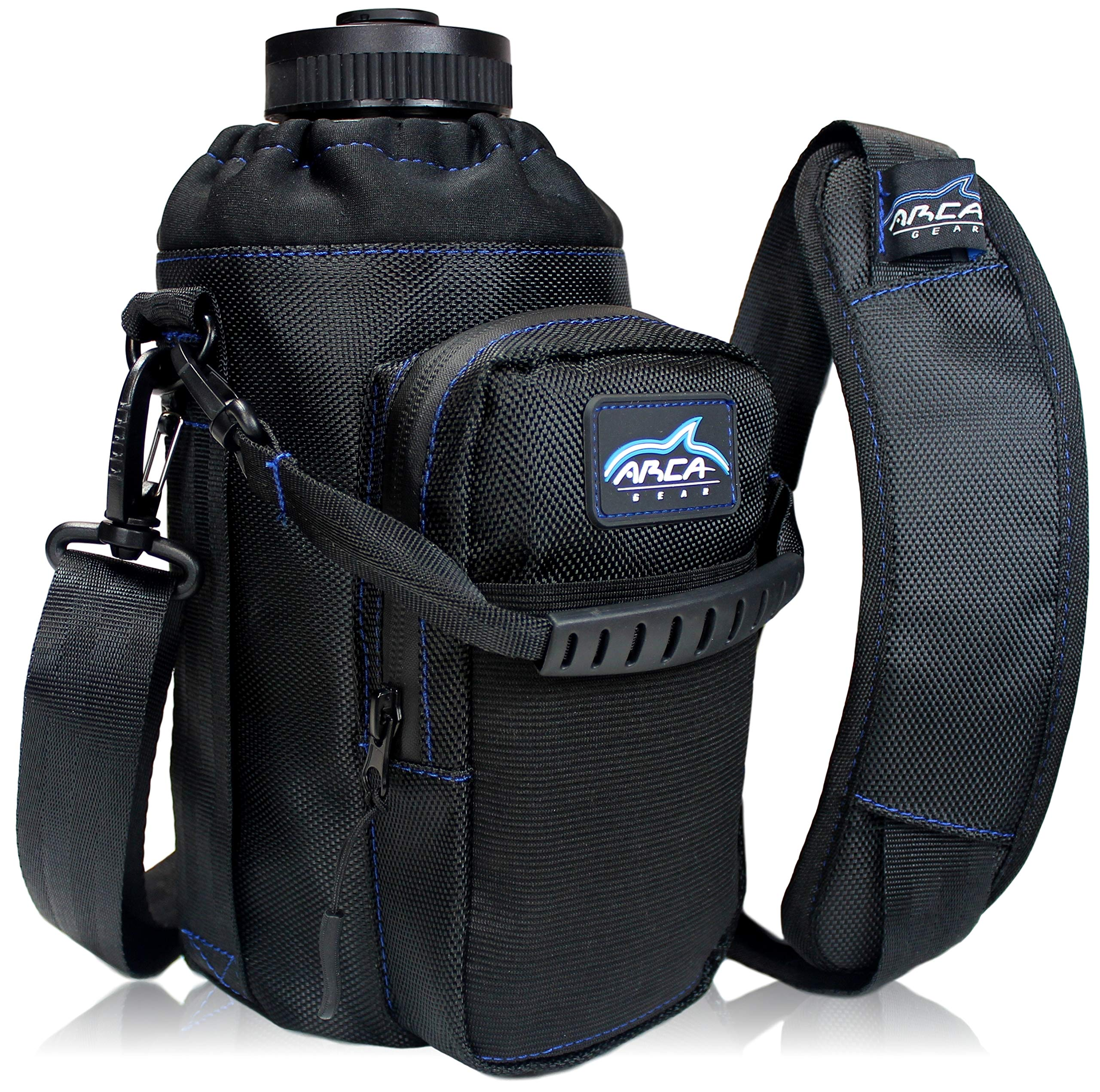 Arca Gear 64 oz Hydro Carrier - Insulated Water Bottle Sling w/Carry Handle, Shoulder Strap, Wallet and Two Pouches - The Perfect Flask Accessory - Black by Arca Gear