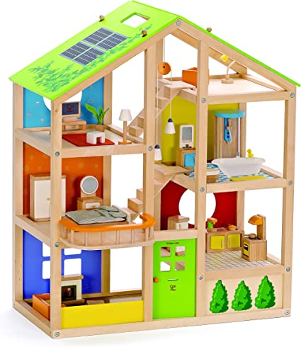 Amazon Com All Seasons Kids Wooden Dollhouse By Hape Award Winning 3 Story Dolls House Toy With Furniture Accessories Movable Stairs And Reversible Season Theme Toys Games