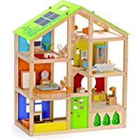 All Seasons Kids Wooden Dollhouse by Hape | Award Winning 3 Story Dolls House Toy with Furniture, Accessories, Movable…