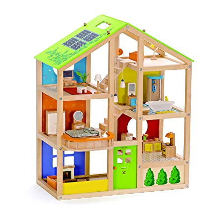 Hape All Seasons Kid S Wooden Doll House Furnished With Accessories