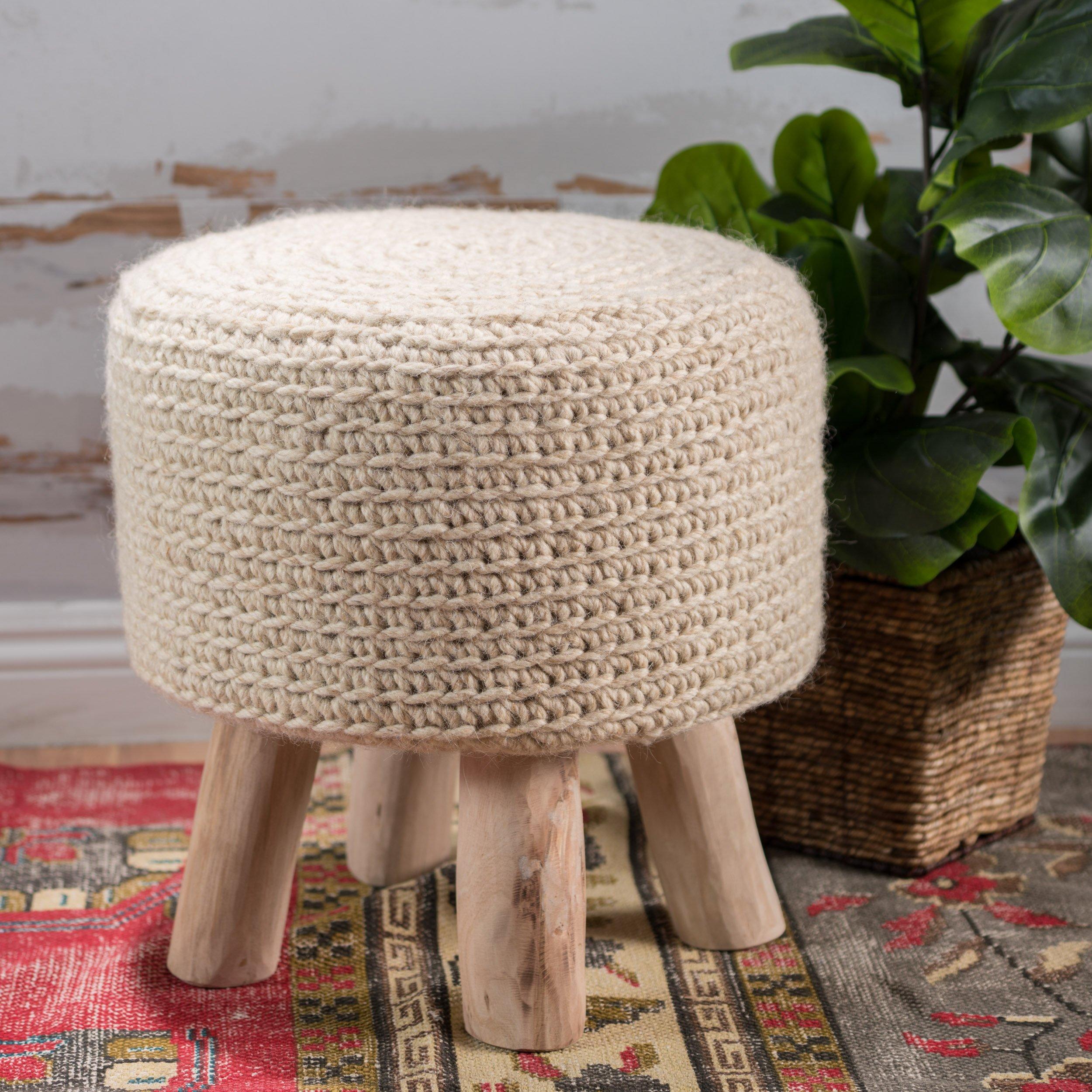 Mosiac Hand Knit Wool Fabric Stool (Ivory)