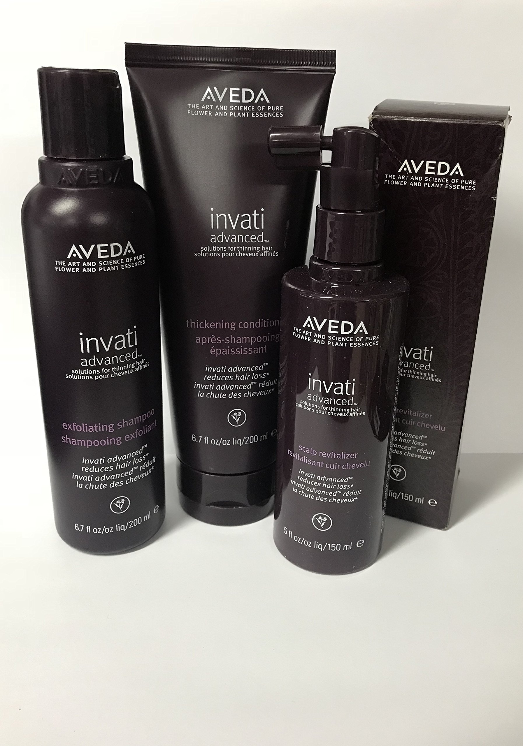 Aveda INVATI Advanced Shampoo 6.7 oz Conditioner 6.7 oz Scalp Revitalizer 5 oz set