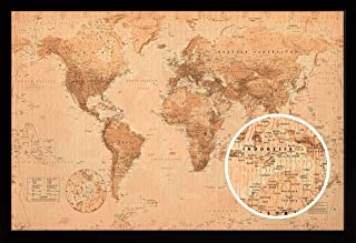 product image for Frame USA World Map Antique Poster (Black Affordable Medium Frame)(36x24)