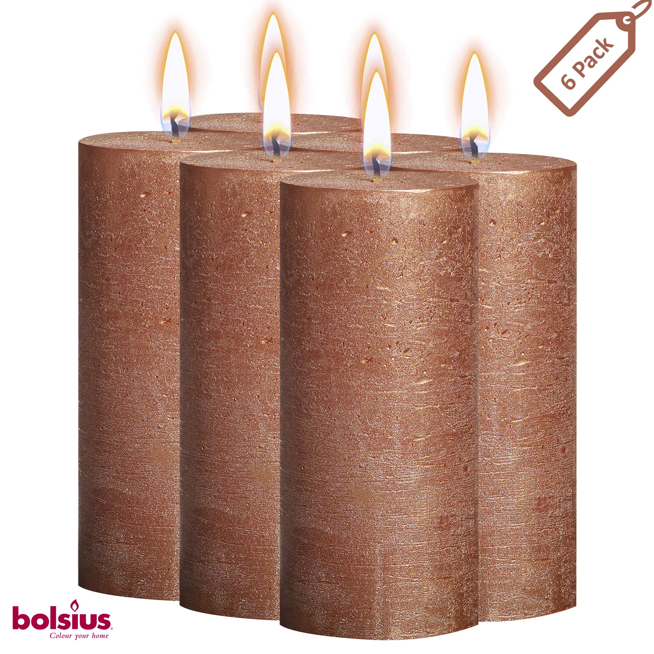 BOLSIUS Rustic Full Metallic Copper Candles - Set of 6 Unscented Pillar Candles - Copper Candles with a Full Metallic Coat - Slow Burning - Perfect Décor Candle - 190/68m 7.5X 2.75 Inches by BOLSIUS