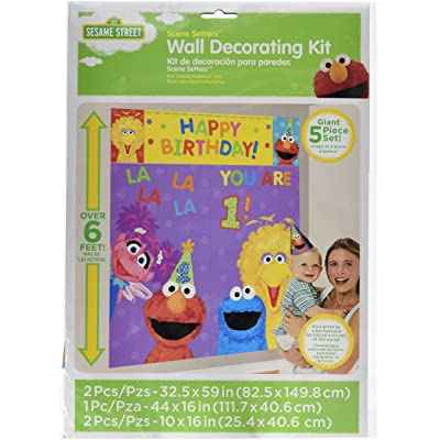 "amscan Sesame Street 1st Birthday Party Scene Setter Wall Decorating Kit, Plastic, 59"" X 65"", Pack of 5 Party Supplies: Toys & Games"