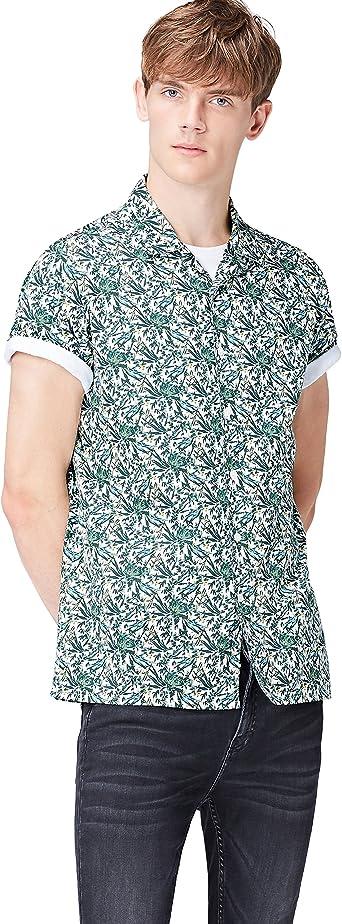 Marca Amazon - Camisa de Manga Corta Slim Fit con Banda Deportiva para Hombre
