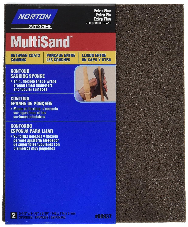 2-Pack Norton 00937 4-1//2-Inch X 5-1//2-Inch X 3//16-Inch Extra Fine Contour Sanding Sponge