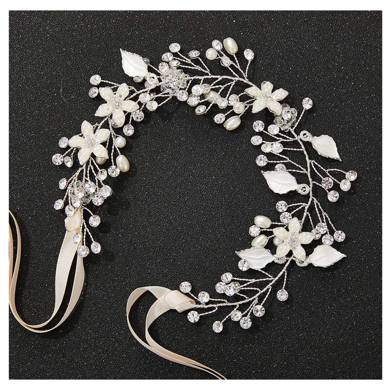 Hair Accessories,Hot Sell Big White Flower Wedding Headband Bride Long HeadPiece Hair Accessories Handmade Evening Party Hair Jewelry