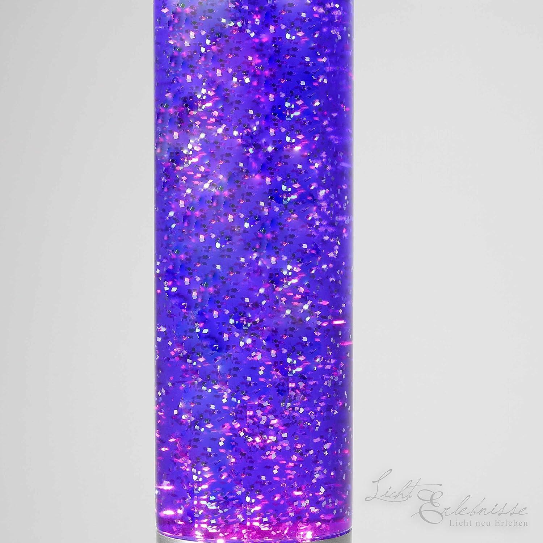 Violett Tolle Glitterleuchte//LavalampeYvonne in lila 38cm hoch//mit Kabelschalter//Leuchtmittel Zum Betrieb der Lavaleuchte inklusive//Glitterlampe