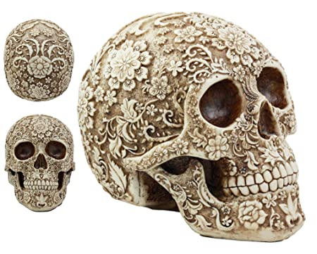 Ebros Day Of The Dead Tribal Wild Floral Skull Statue 8 Long Decorative Homosapien Skull Halloween Spooky Decor