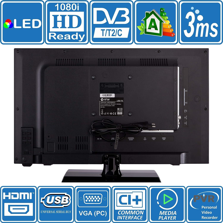 eStar TV HD portátil de 24 pulgadas, doble potencia 240 V y 12 V ...