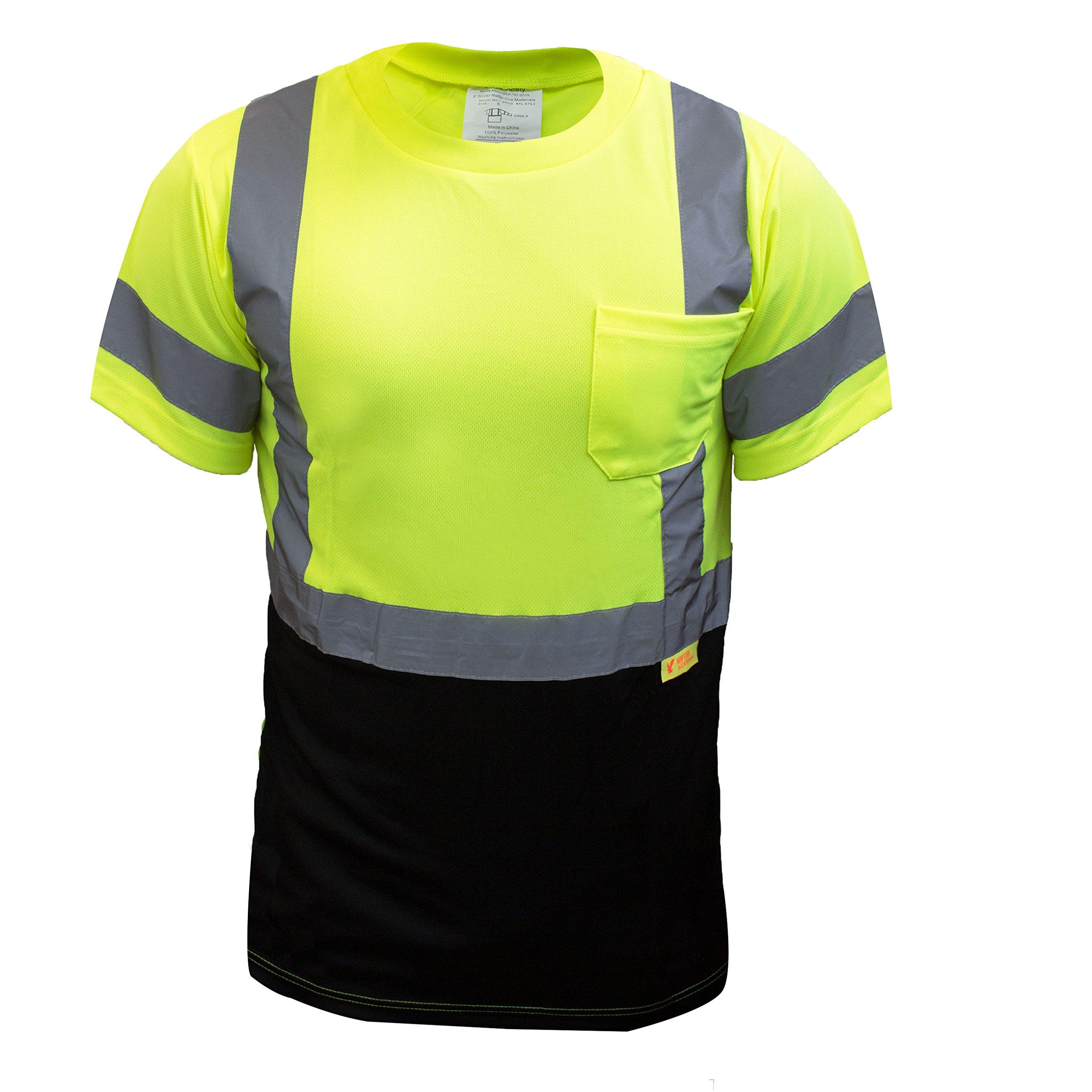 NY BFS High-Visibility Class 3 T Shirt with Moisture Wicking Mesh Birdseye, Black Bottom (Set of 5 (5XL), Green)