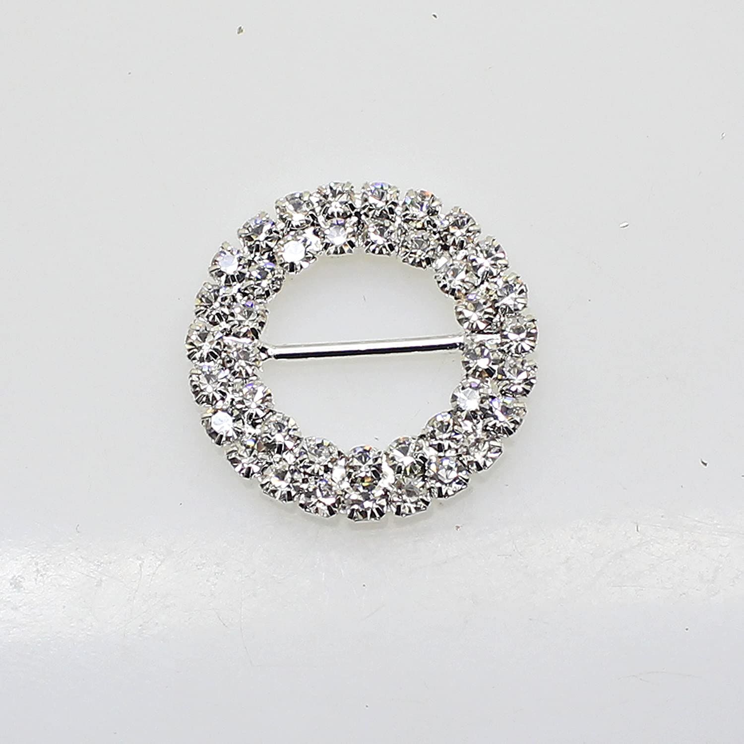 15pcs 27mm x 27mm Round Shaped Rhinestone Buckle Slider for Wedding Invitation Letter AngHui