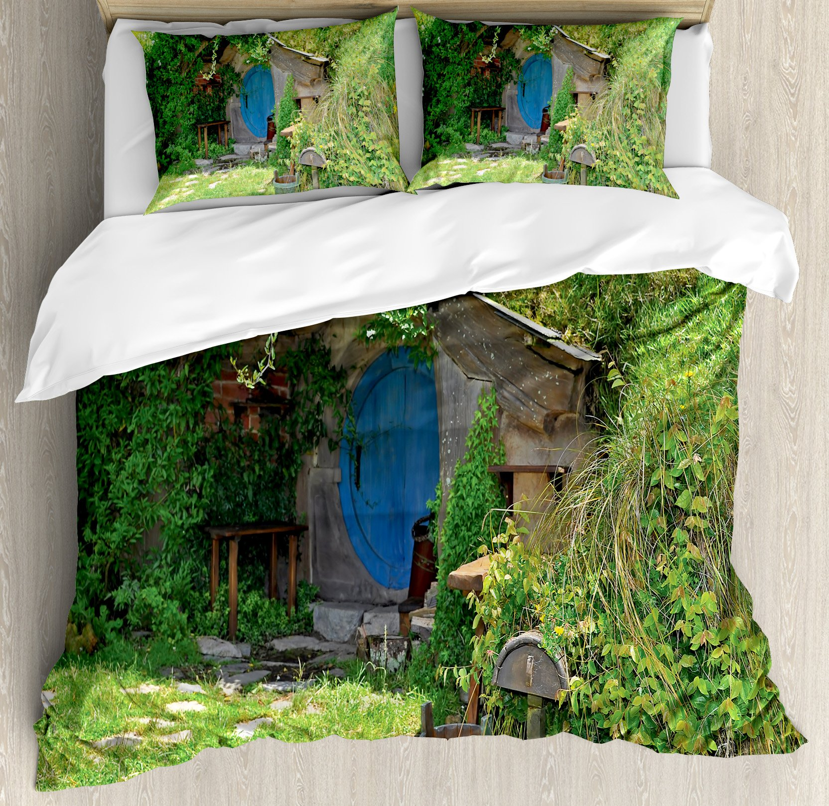 Hobbits Duvet Cover Set by Ambesonne, Fantasy Hobbit Land House in Magical Overhill Woods Movie Scene New Zealand, 3 Piece Bedding Set with Pillow Shams, Queen / Full, Green Brown Blue