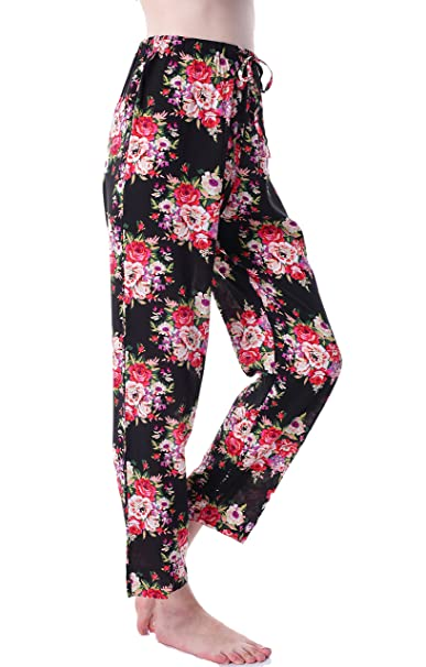 d597e387df Juntian Women s Floral Pajamas Cotton Pants for Bridesmaid and Bride Gifts  for Bridal Party