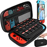 Carrying Case for Nintendo Switch/Switch OLED Model with 2 Pack Screen Protector, iVoler Protective Portable Hard Shell Pouch