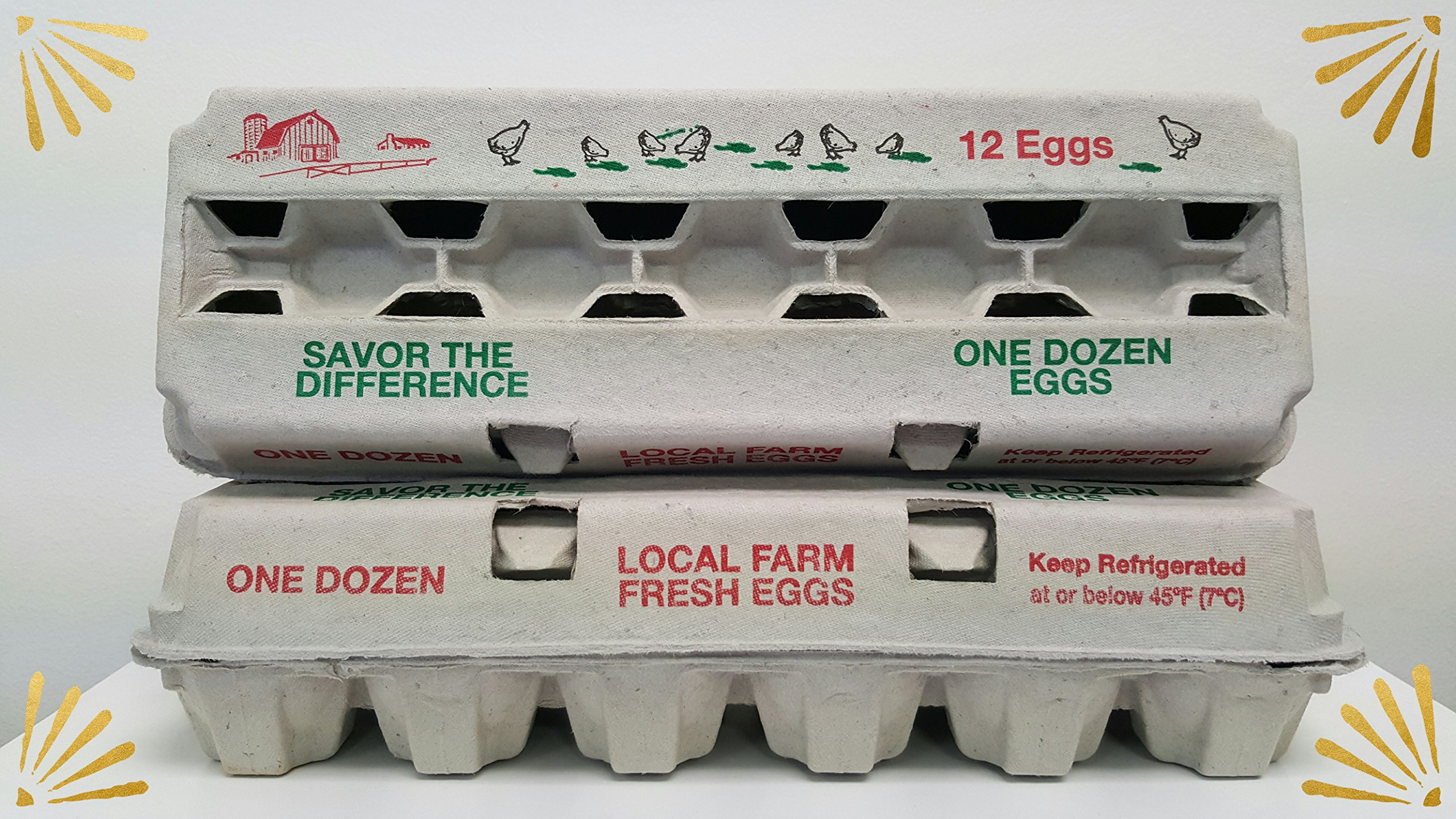 Zellwin Farms 12ct Red & Green Design Egg Cartons - 100pcs