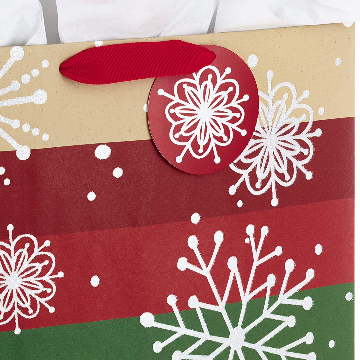 Hallmark 15 Extra Large Christmas Gift Bag with Tissue Paper Black Buffalo Plaid with Red Bow
